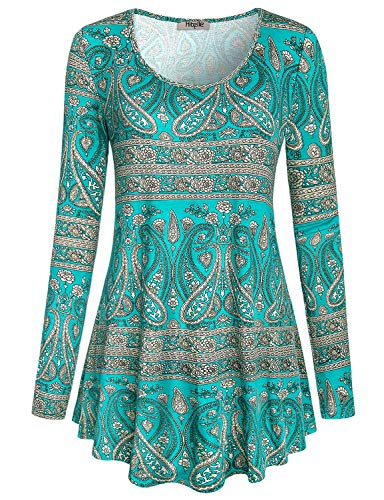 Hibelle Swing Tops for Women, Ladies Crew Neck Zulily Knit Flattering Stretchy Soft Paisley Printed Pattern Trapeze Fall Blouses and Shirts Green L ST Patricks Day Shirt