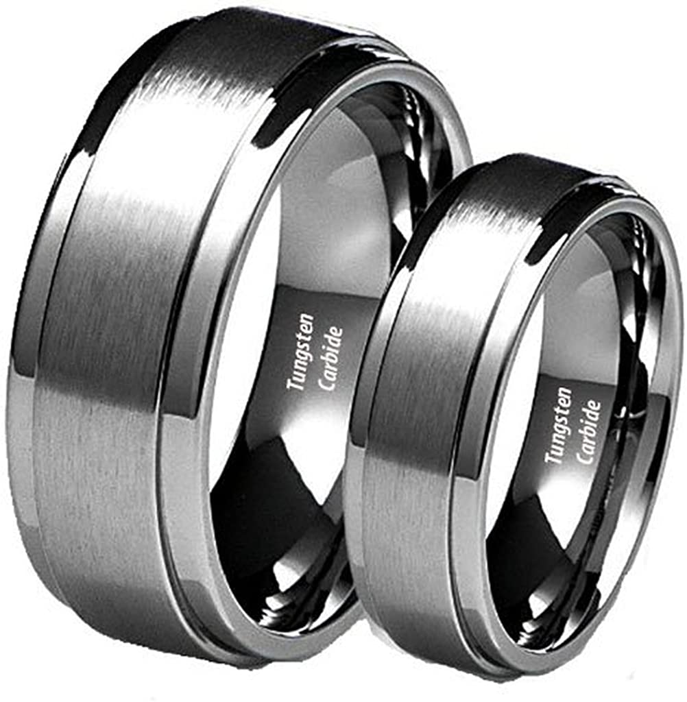 His Her's 8MM 6MM Brushed Center Carbide Edge Limited price Step Raleigh Mall We Tungsten