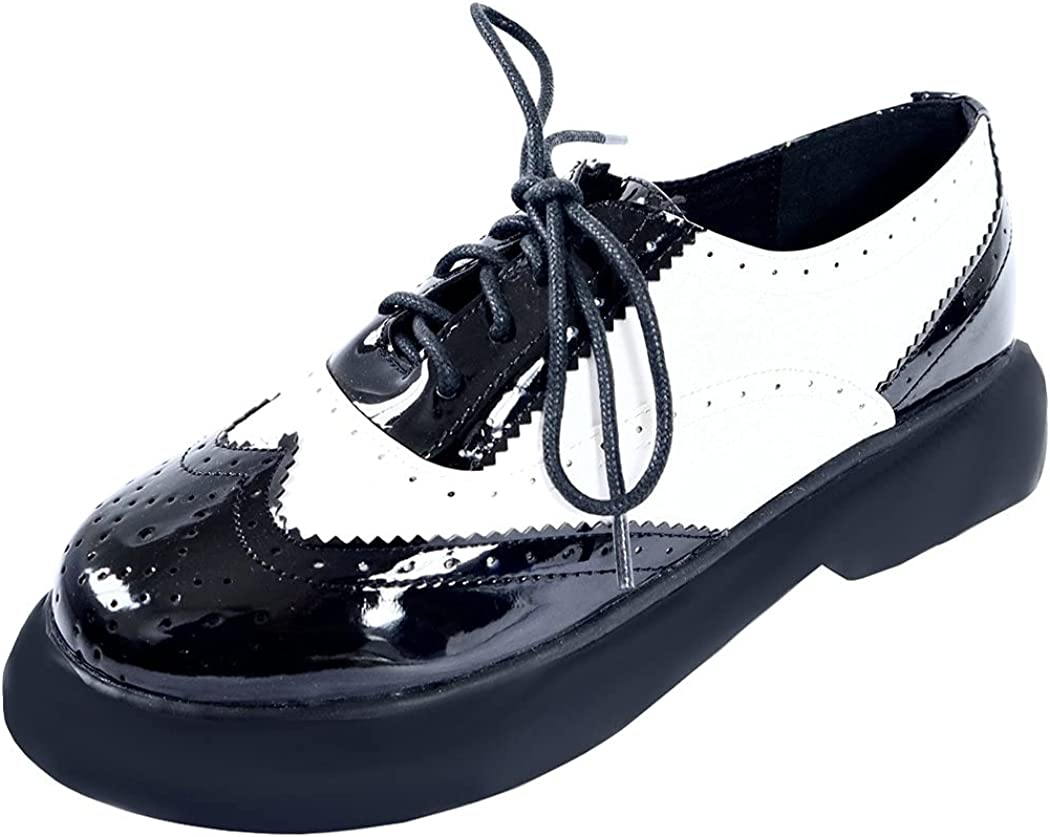 KIKIVIVI Womens Wingtip Oxford Max 41% OFF Lace Heel Shoes Flat Platform Up Max 48% OFF