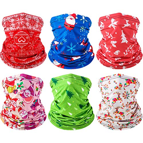 6 Pieces Christmas Face Covering Face Bandana Neck Gaiter Sun Protection Headwear for Fishing Cycling Hiking Camping Hunting Outdoor Activities