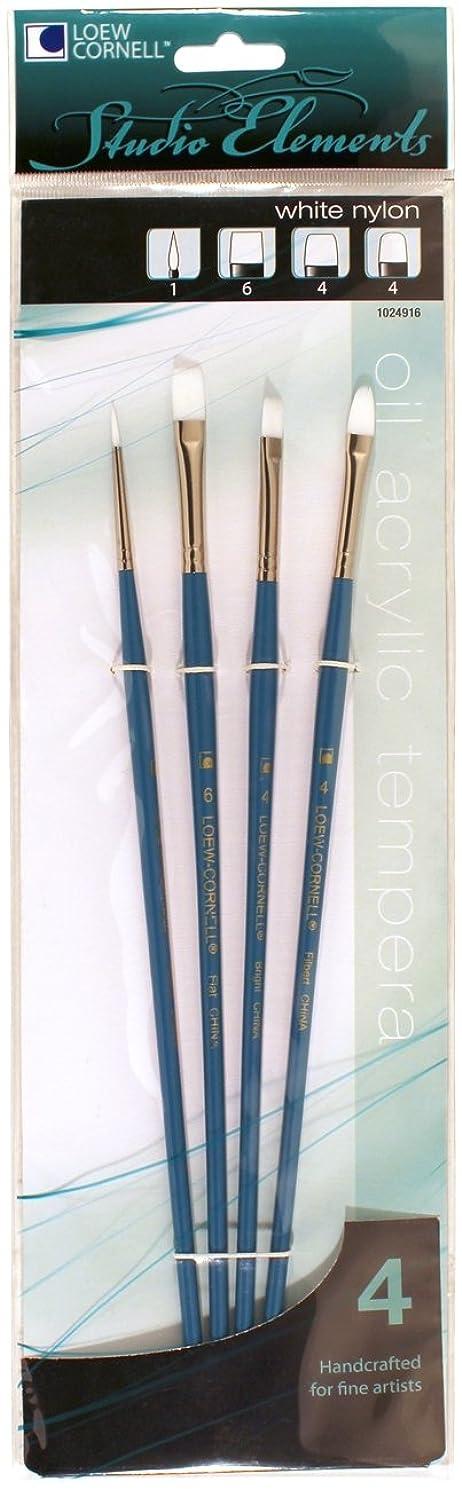 Loew-Cornell 1024916 Studio Elements Long Handle White Nylon Round/Flat/Shader/Filbert Brush Set, 4-Piece