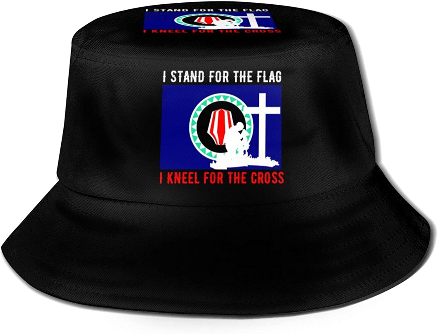 I Stand for The Bougainville Flag and I Kneel for The Cross Bucket Hats Beautiful Summer Travel Beach Sun Hat Black