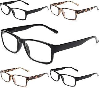 Gaoye 5-Pack Reading Glasses Blue Light Blocking,Spring Hinge Readers for Women Men Anti Glare Filter Lightweight Eyeglasses (3 Light Black + 2 Leopard, 2.0)