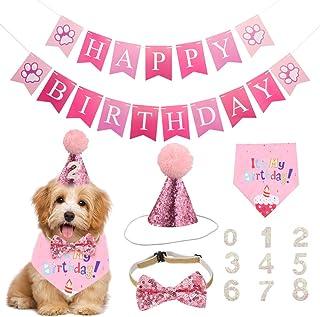 falllea Juego de 5 pañuelos de cumpleaños para perros, bufandas triangulares, suministros para fiestas de cumpleaños, para...