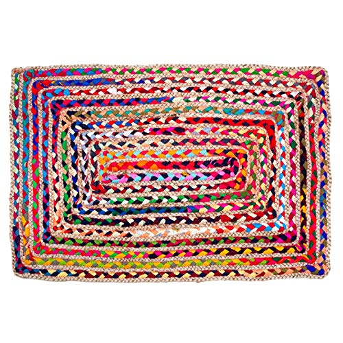 UMI by Amazon - Alfombra Rectangular Multicolor Tejida y Trenzada a Mano con algodón Reciclado, diseño Reversible, 60 × 90 cm