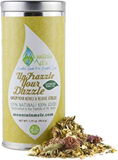 UnFrazzle Your Dazzle All Natural Loose Leaf Herbal Tea - Warming, Calming, and Stress Reducing Caffeine Free Tea, Up to 60 Cups of Decaf Tea Per tin