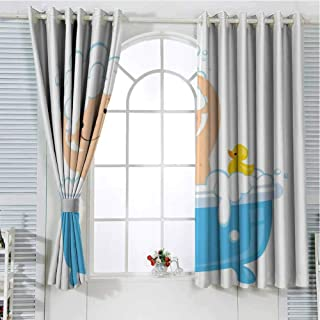 Jinguizi Grommet Window Curtain Kids Curtain Nursery,Baby Boy with Smiley Face Having Bubble Bath with Rubber Duck Kids Theme Art,White and Blue Light Curtain 63 x 63 inch