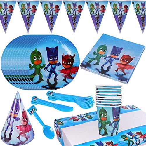 Party Vajilla ZSWQ-87 Piezas Ninja Artículos de Fiesta Party PJ masks Vajilla Platos Tazas Servilletas Mantel,Feliz cumpleaños Decoraciones Suministros Fiestas Regalos Tema