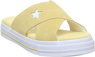Converse One Star Womens Butter Yellow/White Suede Slip Sandals