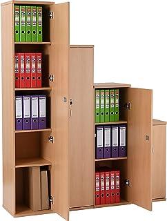 Certeo Placard fin de bureau en bois - 4 tablettes - Hauteur 1980 mm - Hêtre - Karbon - Armoire de rangement Armoire de cl...