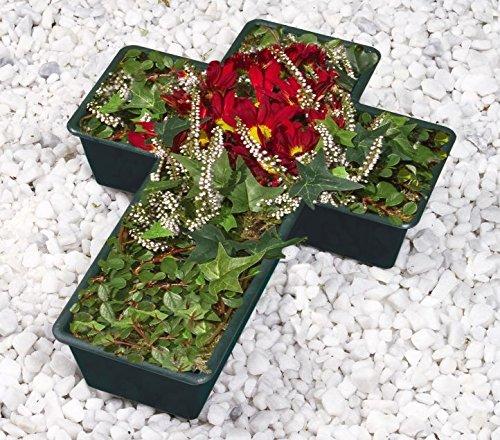Wenko 2er Set Grabschale Kreuz, Grabschmuck, Pflanzkasten