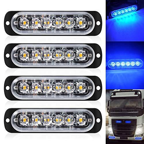 DEFVNSY - Paquete de 4-6 Luces estroboscópicas LED para Coche, Barra de luz de Advertencia, vehículo, LED de Emergencia, Coche, camión, luz de Advertencia, luz de tráfico Azul, 12 V-24 V DC
