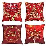 Komake 4 fundas de cojín navideñas con estampado en caliente, color blanco, para sofá, coche, cama, decoración de fiestas, lino [45 x 45 cm] (rojo y blanco)