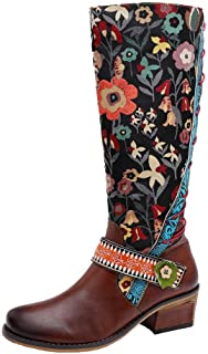 〓COOlCCI〓Knee High Boots for Women Wide Calf,Tall Boots Retro Over Knee Riding Boots Calf Flat Bootie Combat Boots Winter