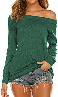 Lutos Women Off Shoulder Tunic Shirt Solid Long Sleeves Tops T Shirt Loose Blouse