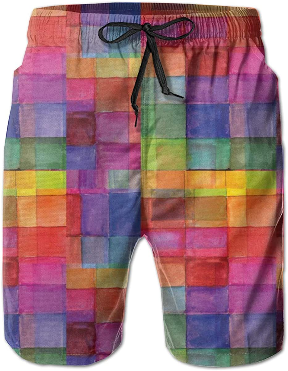 Men's 100% Polyester Rainbow Free shipping New Colored Swim Square Discount is also underway Geometric Trunk