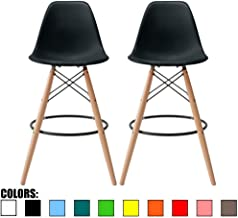 """2xhome Set of 2 28"""" Seat Height Black Mid Century Modern Plastic Side Armless No Arms DSW Molded Shell Bar Stool Stools with Back Counter Height High Chairs Counter Wooden Wood Eiffel Kitchen"""