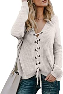 Womens Classic Lace Up V Neck Solid Knitted Tie Pullover Jumper Sweaters