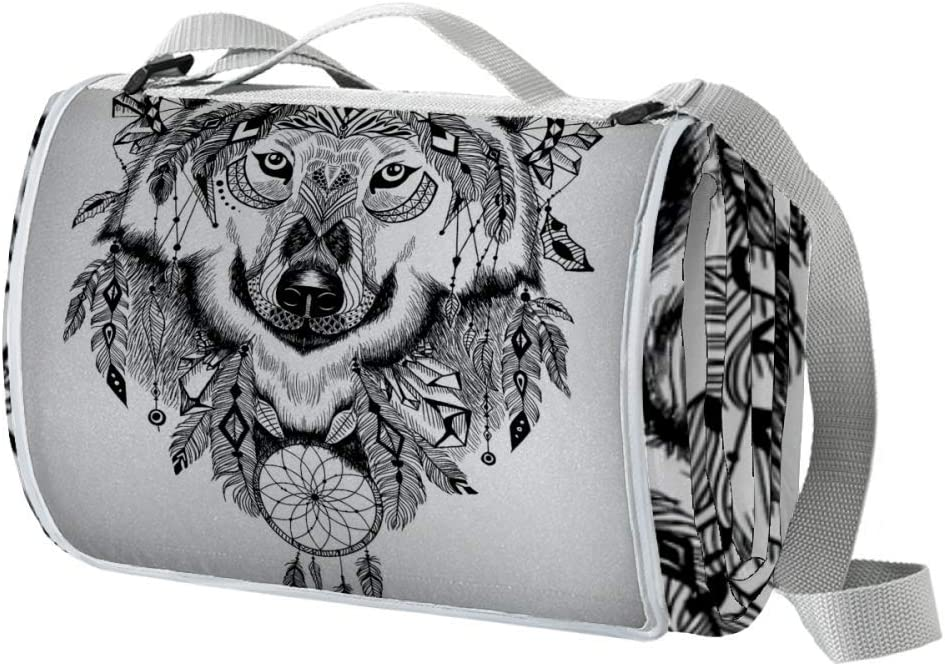 Outdoor Picnic Rare Blanket Indian Wolf Waterproof Head Clearance SALE Limited time Extra Large F