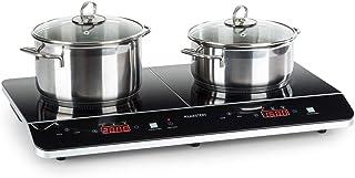 Klarstein VariCook Neo Doble placa de cocina de inducción - Cocina portátil, Vitrocerámica, 3500 W, Tecnología SenseControl, Sensor de ollas, Programable, No recalienta, Negro