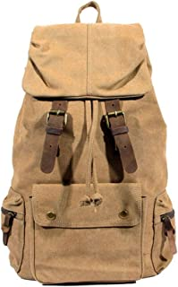 Crazy Horse Leather Backpack, Retro Student Computer Backpack High Capacity Wear Resistant (Color : Brown)