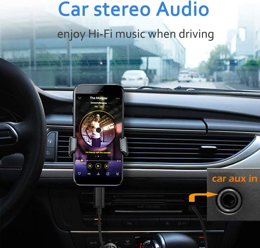 Car Stereo Cable for Google Pixel 3 2 XL,Samsung Galaxy Note10//S9//S9+//S8//8,OnePlus 6T//7//7 Pro,HTC 10// U11-4 Feet USB Type C to 3.5mm Male Audio Aux Cord Jack Adapter with Hi-Res DAC