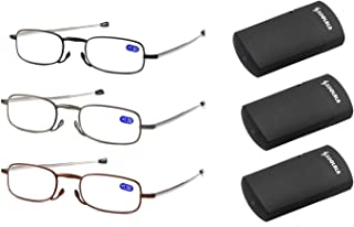 SOOLALA Metal Aolly Frame Folding Magnifying Compact Reading Glasses Reader w/Case