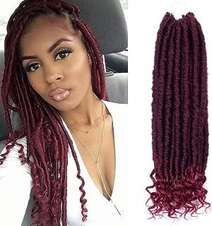 VRHOT 6Packs 18 inch Straight Goddess Faux Locs Crochet Hair Prelooped Crochet Braids Prelooped Jumbo Burgundy Synthetic Hair Extensions Dreadlocks Ombre Braiding Hair (18 inch (6packs), T1B/BG)