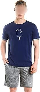 Men's Pajamas Suit Cotton Short-Sleeved Plaid Sleepwearpyjamas Men T-Shirts & Shorts