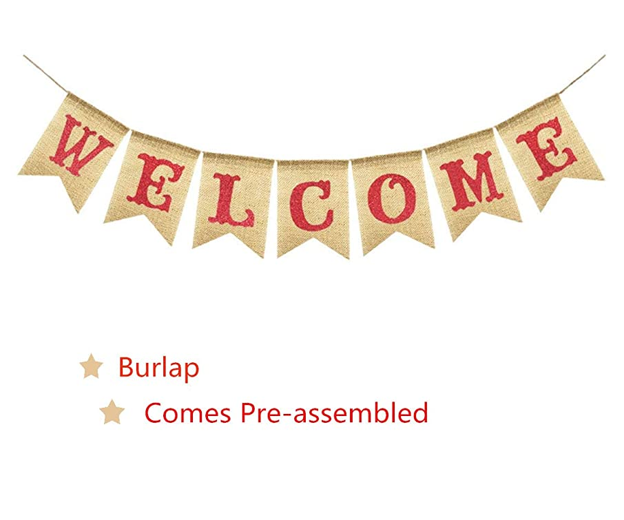 WELCOME Vintage Rustic Party Banner Burlap Bunting House Home Classroom Fireplace Decoration Garland Photo Booth Prop, Wedding Birthday Valentine's Graduation Back To School Homecoming Party Supplies