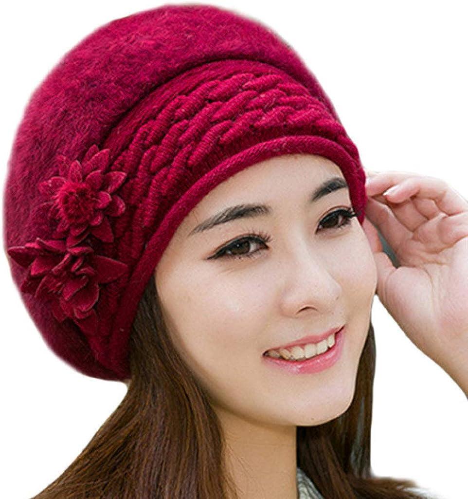 Winter Hats for Women Warm Beret Beanies Floral Faux Rabbit Fur Braided Female Knitted Bonnet Caps