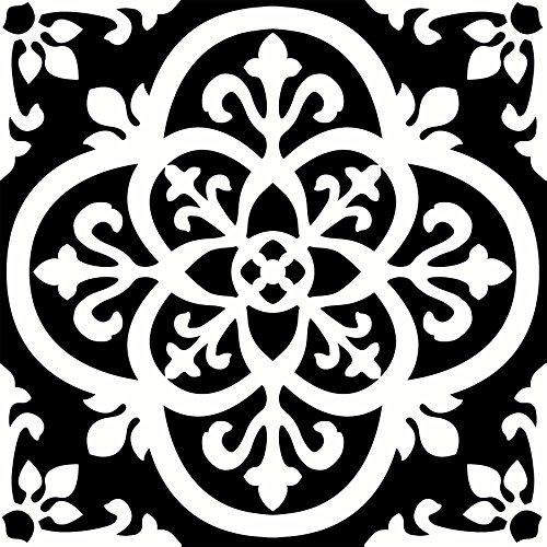 WallPops FP2475 Lot de 10 dalles de sol autocollantes Style gothique Noir