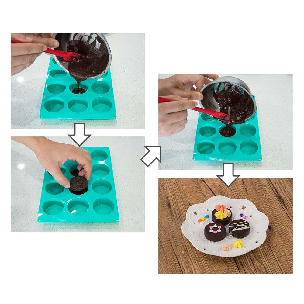 Webake Chocolate Cookie Mould Silicone Baking Moulds for Round Cylinder Candy Jello Cake Chocolate Covered Sandwich Cookies