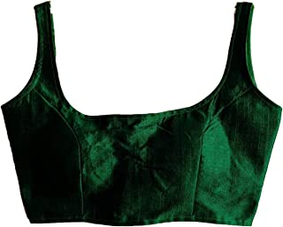 Pujia Mills Women's Green Colour Deep Neck Silk Sleeveless Readymade Blouse For Saree and Lehenga Choli (38+4 inch margin)(Sleeves inside)