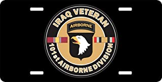 """Anwei Us Army Iraq Veteran 101st Airborne Front Metal Aluminum License Plate Vanity car tag Home Door Sign 6"""" x 12"""" with 4 Holes"""