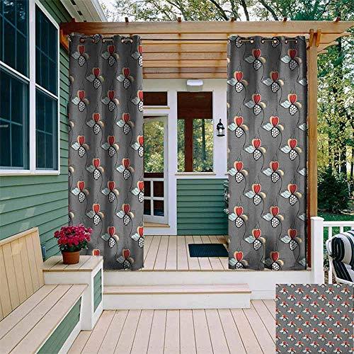 Aangepaste outdoor gordijn bloemen hand getrokken bloeiende natuur Illustratie met bloemblaadjes en stippen geometrische figuren geïsoleerd met grommet gordijnen voor slaapkamer Multi kleuren W108