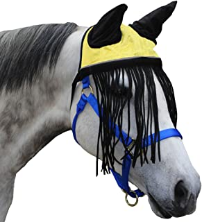 Derby Soft Nylon Mesh Fly Bonnet Veil for Horses with Ears, Fringes, and Reflective Trim - Multiple Colors