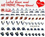 Seahawks Clear Vinyl PEEL and STICK (NOT Waterslide) nail decals/stickers V1. Set of 68. (Version A2)