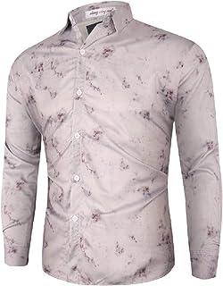 CRYYU Men's Hipster Tie Dye Print Long Sleeve Slim Fit Button Down Shirt