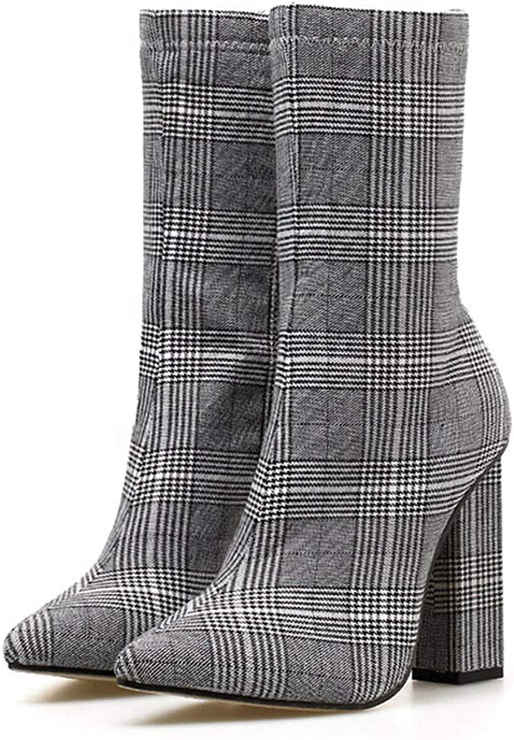 SENERY Women Boots Pointed Toe Ladies High Heels Boots Fashion Plaid Ankle Boots Martin Booties