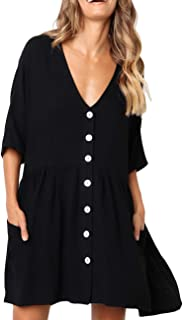 Women V Neck Button Down Loose Swing Casual Short T-Shirt Dress