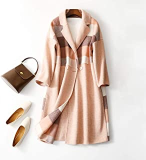 Winter Clothing for Women Autumn and Winter Cashmere Coat Women Double-Sided mid-Length Plaid Button Coat Ladies Coat (Color : Pink, Size : M)