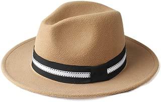 Fedora Cap Fashion Men Women Winter Fedora Hat Wide Brim Church Hat Panama Jazz Hat Outdoor Travel Fascinator Hat Size 56-58CM Felt hat (Color : Khaki, Size : 56-58)