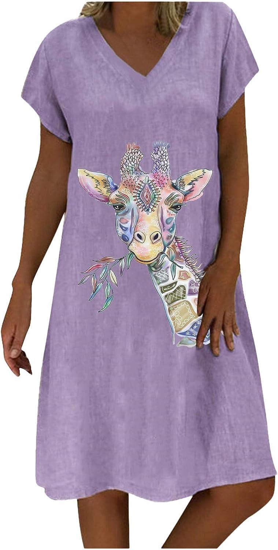 Jinjin2 Linen Dress for Women Summer Dress V Neck Holiday Casual Loose Short Sleeve Print Mididress