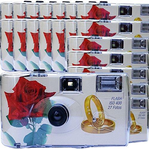 """20x PHOTO PORST Hochzeitskamera / Einwegkamera \""""rote Rose + Ringe\"""" (deutsche Bedienungsanleitung, mit Blitzlicht und Batterien, je 27 Fotos, ISO 400 Fuji)"""