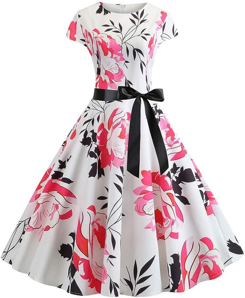 COZOCO Precioso Vestido Retro sin Mangas con Estampado ...