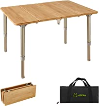 ATEPA Folding Bamboo Table 4-Fold Adjustable Height Aluminum Camping Table Portable Compact Lightweight Outdoor Picnic Tab...
