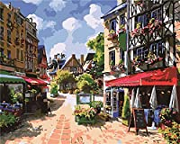 番号によるDiyペイント絵画ストリートフラワーショップブラシとアクリルペイントキットの油絵キャンバス初心者の油絵ブラシ