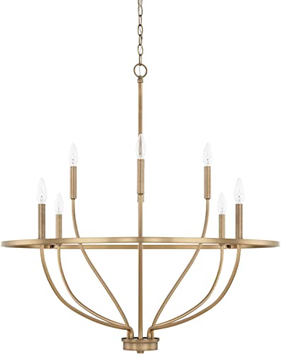 wholesale HomePlace 428581AD Greyson sale Chandelier, 2021 8-Light 480 Total Watts, Aged Brass sale