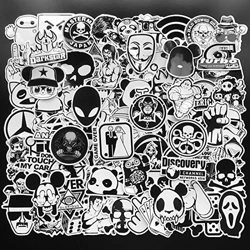 PMSMT 100 Stück zufällige Schwarz-Weiß-Aufkleber Graffiti Punk JDM Coole Aufkleber für Kinder Aufkleber auf Laptop Skateboard Koffer Fahrradhelm